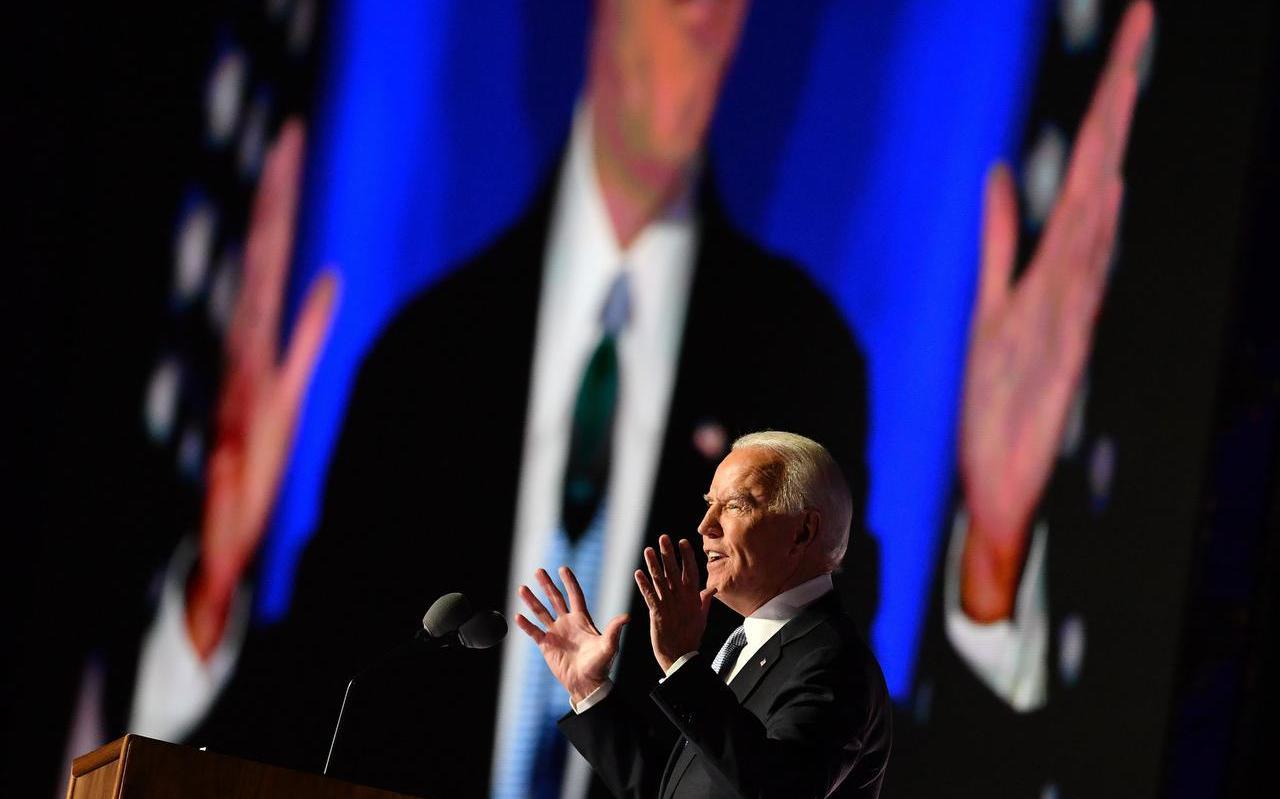 Joe Biden zaterdag tijdens zijn overwinningsspeech in zijn woonplaats Wilmington in de staat Delaware.