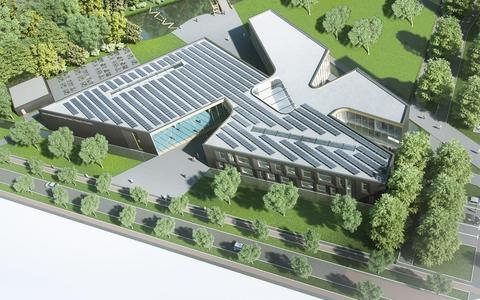 Een ontwerp van de nieuwbouw voor de Friese Poort-opleiding uniformberoepen. Voor het gebouw wordt 70 procent hergebruikt.