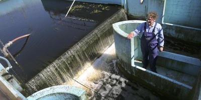 Yede van der Kooij in de bak waar het gereinigde water op het punt staat op het buitenwater geloosd te worden, in dit geval de Leeuwarder Potmarge. FOTO NIELS WESTRA