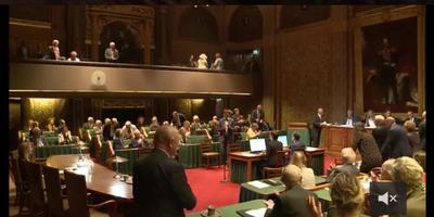 De senaat dinsdagavond, met links vooraan Hendrik ten Hoeve.