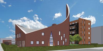 Artist impression van het nieuwe Zorghuis Leeuwarden in de voormalige Adelaarkerk in Bilgaard. ILLUSTRATIE ZORGHUIZEN NOORD-NEDERLAND