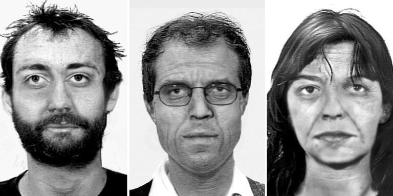 De drie voortvluchtige ex-RAF-terroristen. Op de foto's is verouderingssoftware toegepast, om een indruk te geven van hoe ze er nu uit zouden kunnen zien.