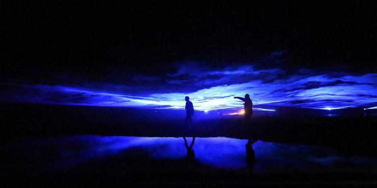 Project Waterlicht van kunstenaar Daan Roosegaarde op Afsluitdijk