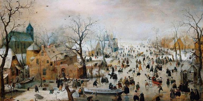 Winterlandschap met schaatsers (ca. 1608) van Hendrick Avercamp. Historicus Phillip Blom: ,,Als we door het ijs zakken, doen we dat met z'n allen.''