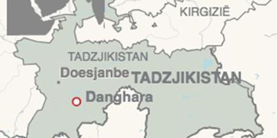 Kaart van de regio Danghara in het zuidwesten van Tadzjikistan waar vier fietstoeristen zijn omgekomen. AFBEELDING ANP