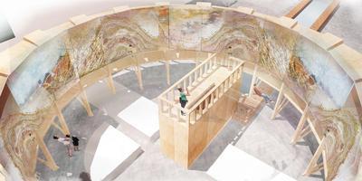 Het panorama van het Wad, zoals het op de binnenplaats van het Aegongebouw moet komen. ILLUSTRATIE ALEX VAN DEN BELD