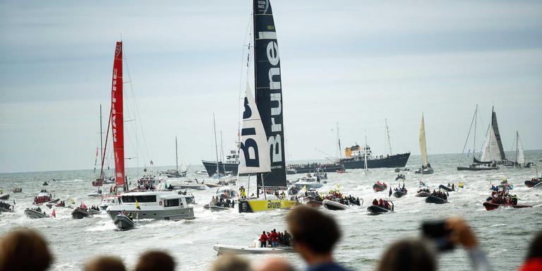 De finish van de laatste Volvo Ocean Race, eind vorige maand in Scheveningen. FOTO ANP