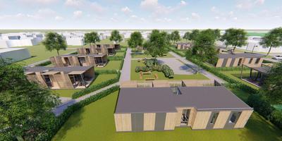 Impressie van het plan met tiny houses voor ouderen in Berltsum.