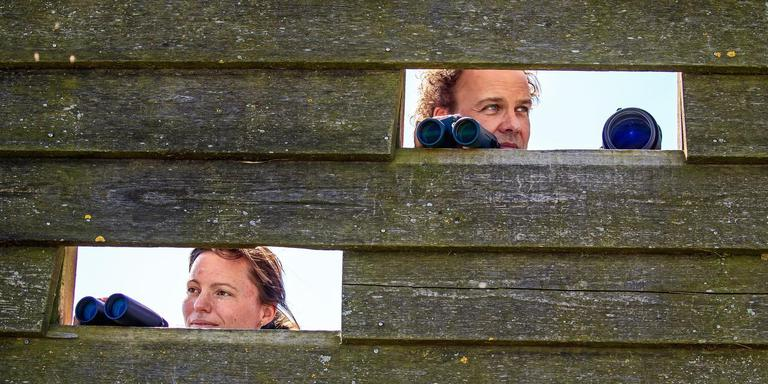Jonna van Ulzen en Roef Mulder bespieden de vogels van het Hegewiersterfjild. FOTO NIELS DE VRIES