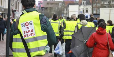 Betoging van 'gele hesjes' afgelopen zaterdag in Leeuwarden. foto Anton Kappers