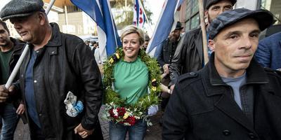 Jenny Douwes tijdens haar 'huldiging' op 12 oktober. FOTO HOGE NOORDEN/JACOB VAN ESSEN