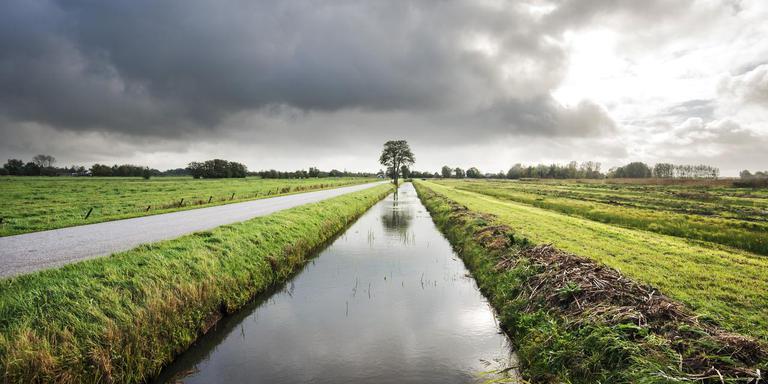 De Rohelsterweg van Buitenpost naar buurtschap Reahel. Rechts het ontwikkelde Rohelstermieden-West, links Rohelstermieden-Oost. FOTO MARCEL VAN KAMMEN