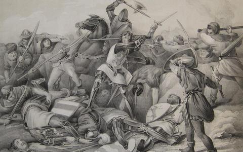 Slag bij Warns, 1345. Graaf Willem IV wordt gedood. Oude schoolplaat.