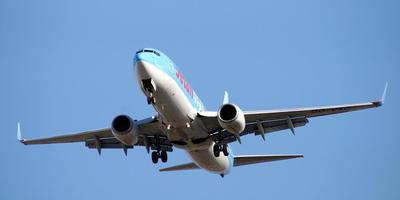 Een Boeing 737, dit type vliegtuig maakt eenzelfde hoeveelheid lawaai als de Airbus waarop de animatie is gebaseerd.