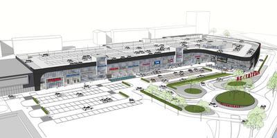 Het plan voor de oostelijke uitbreiding van het Leeuwarder winkelpark De Centrale met op de begane grond een Aldi en boven een parkeerdek. ILLUSTRATIE WINKELPARK DE CENTRALE