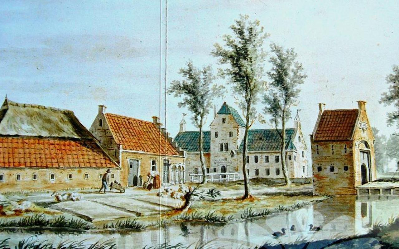Op het erf van adellijke states stond vroeger vaak een boerderij. Dat is op deze afbeelding van de Leeuwarder Camminghastate (Cambuur) in 1782 goed te zien. Op de achtergrond staat het slot en rechts het poortgebouw bij de erftoegang. Afbeelding Historisch Centrum Leeuwarden.