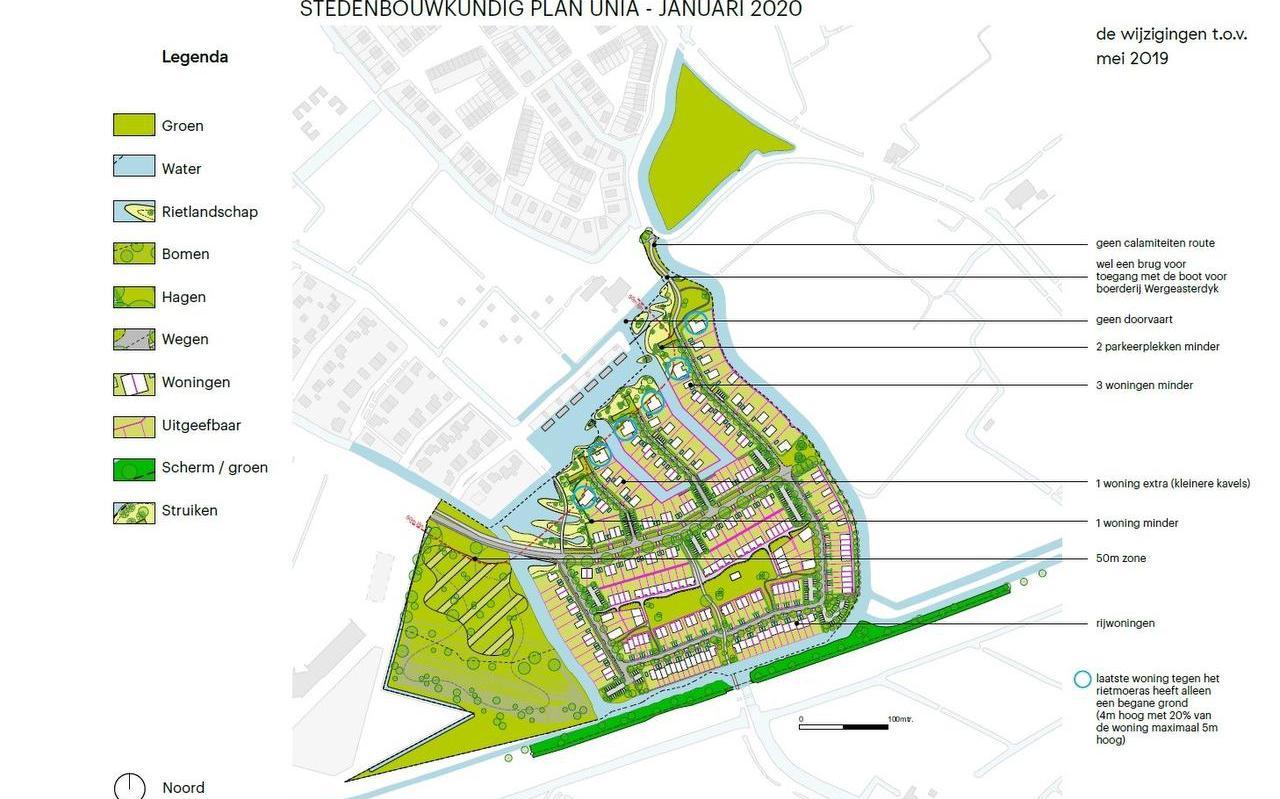 Het vernieuwde wijkplan voor Unia-West, een buurt met ruim 200 woningen ten zuiden van de Leeuwarder wijk Techum. Bron: gemeente Leeuwarden.