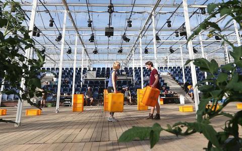 Hoofdrolspelers Maartje van de Wetering, die kwekersdochter Klaske speelt, en Wojtek, gespeeld door Peter Jakubow tussen de kratten en tomatenplanten. FOTO CATRINUS VAN DER VEEN
