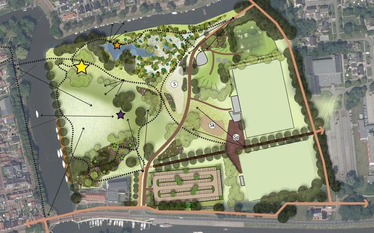 In de jongste plannen voor het Harddraverspark staan weer twee sportvelden ingetekend.  FOTO ILLUSTRATIE GEMEENTE NOARDEAST-FRYSLÂN