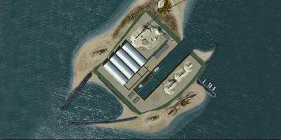 Het beoogde en sterk bekritiseerde werkeiland dat baggerbedrijf Royal Smals wil aanleggen voor zandwinning in het IJsselmeer. ILLUSTRATIE ROYAL SMALS