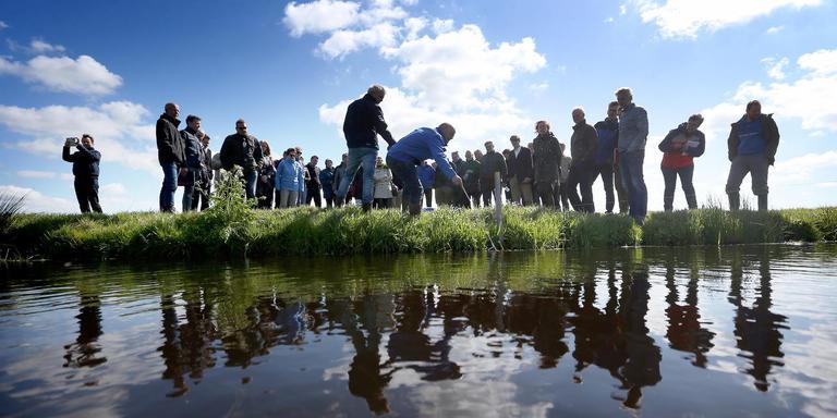 Experts, ambtenaren en politici krijgen uitleg over de proef met drainage in de veenweidepolder van boer Marten Dijkstra.