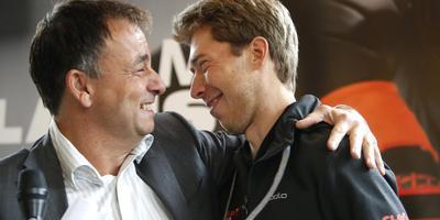 Bert Jonker (links) met Jorrit Bergsma. FOTO HENK JAN DIJKS