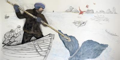 Tekening van Egbarta Veenhuizen over de walvisvangst.