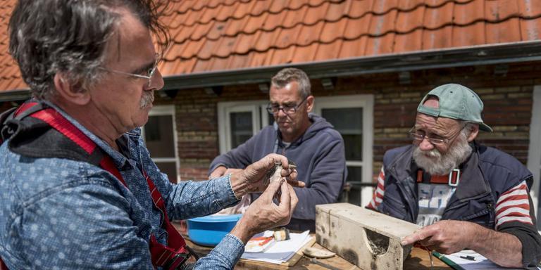 Bioloog Jan Doevendans (links) ringt huiszwaluwen met Henk de Wit en Andries Berghuis. FOTO GEERT JOB SEVINK