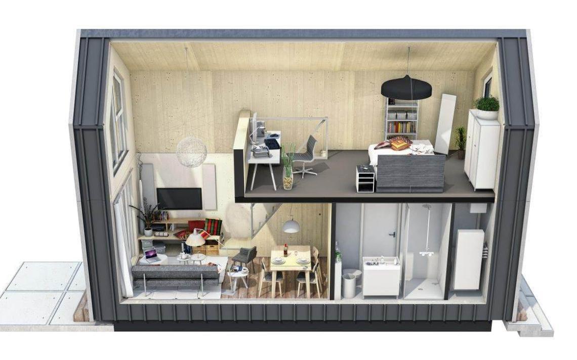 Wonen in een verplaatsbaar huis van nog geen 40 vierkante for Verplaatsbaar huis