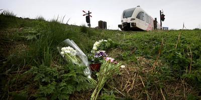 Bloemen bij de plaats van het dodelijke spoorwegongeval bij Harlingen. FOTO CATRINUS VAN DER VEEN