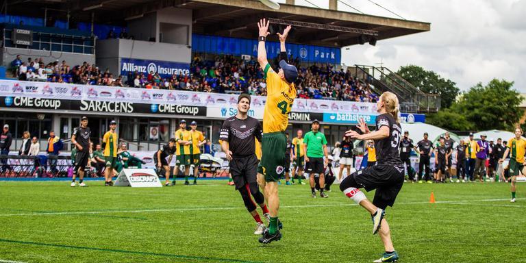 Australië-Verenigde Staten op de WK-finaledag van 2016 in Saint Albans in Engeland.