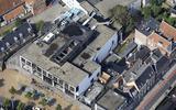 Luchtfoto van het afgebrande casino in Groningen. FOTO KOOS BOERTJENS