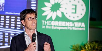 Bas Eickhout van GroenLinks op de verkiezingsavond. FOTO ANP