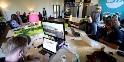 Jonge ondernemers werken in de Inqubator in Leeuwarden aan hun start-up. FOTO NIELS WESTRA