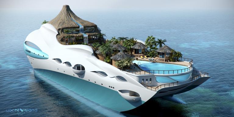 Yacht Island Design Ltd. in Nottingham ontwierp dit drijvende Tropical Island Paradise, inclusief vulkaan met waterval en zwembad.