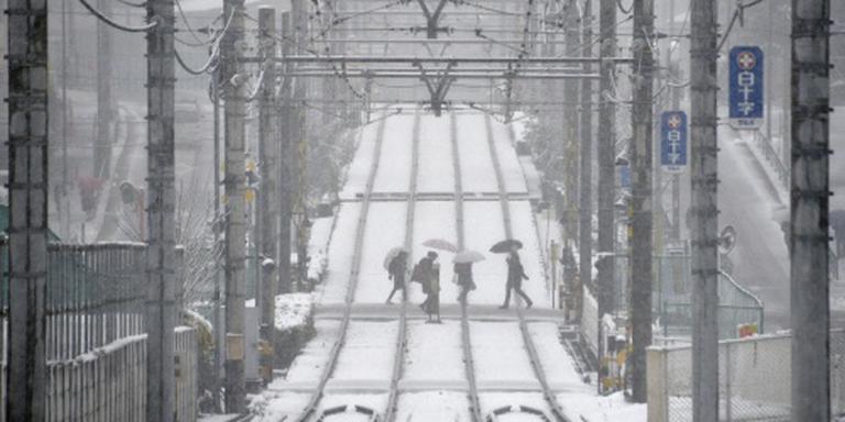 Gewonden door sneeuwval in Japan