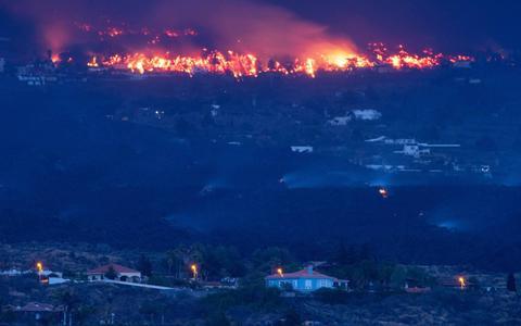 Een van de lavastromen La Palma tot stilstand gekomen