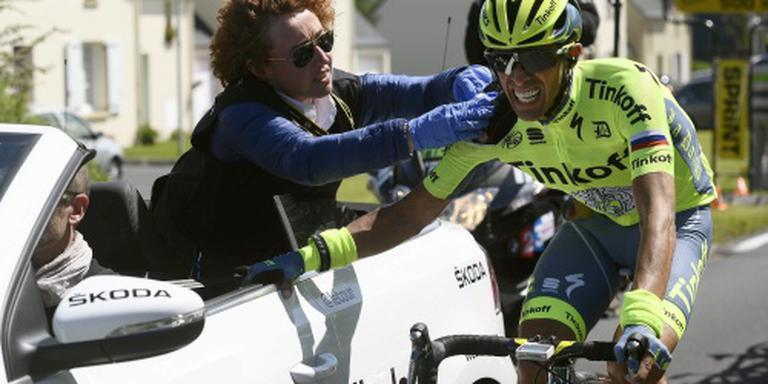 Contador weer betrokken bij valpartij in Tour