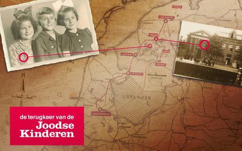 Een kaartje met de route waarlangs de Joodse kinderen vanuit Amsterdam naar Friesland werden gesmokkeld. Inzet links: onderduikster Lea Tropp met broer Izak en nichtje Basja. Inzet rechts: de Doopsgezinde kerk aan de Singel in Sneek.