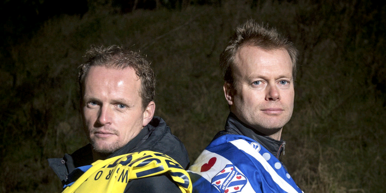 Sipke Hulshoff (links) en Tieme Klompe, de bevriende assistent-trainers van Cambuur en SC Heerenveen. FOTO JILMER POSTMA