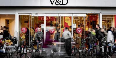 Achterkant van de V&D in Leeuwarden, gistermiddag. FOTO LC