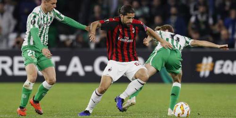 Betis houdt koppositie na 1-1 tegen Milan