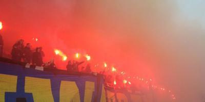 Beeld van supporters tijdens de laatste training van Cambuur voor de derby. FOTO CAMBUUR CULTURE