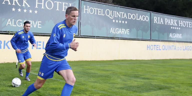 Sjoerd Overgoor tijdens het trainingskamp in Portugal. FOTO HENK JAN DIJKS