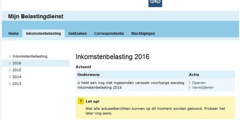 Mijnbelastingdienst.nl overbelast