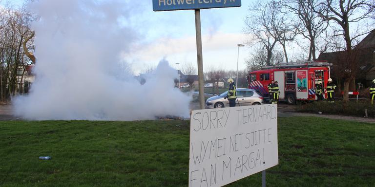 In Ternaard werd geprotesteerd tegen het verbod van de burgemeester. FOTO DE VRIES MEDIA
