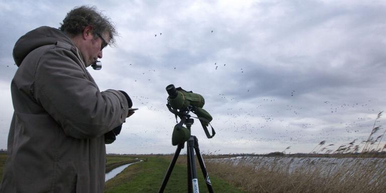 Vogelteller Romke Kleefstra (Sovon), 's ochtends vroeg in de Bloksleatpolder onder Broek. FOTO ARCHIEF LC