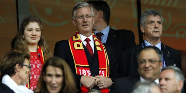 Koning Filip moedigt Rode Duivels aan