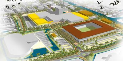 Een schets van het plan voor een nieuw Cambuurstadion in het WTC-gebied.