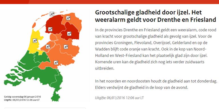 Opnieuw code rood voor Friesland. AFBEELDING KNMI.NL